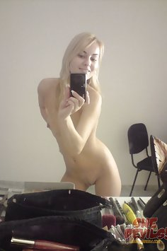 Blonde hottie tries out a few nude poses