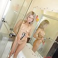Very sweet blonde girl friend show off nude in the shower - image