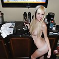 Drunk and wild blonde bombshell caught naked - image