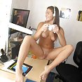 Ultra sexy nerdy gamer girl lounges around nude - image