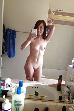 Cute and young self shot teen shows off shaved snatch