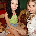 Ultra skinny girls get ready for their threesome - image