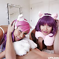 Asian cosplay girls get facials when their master gets home from work - image