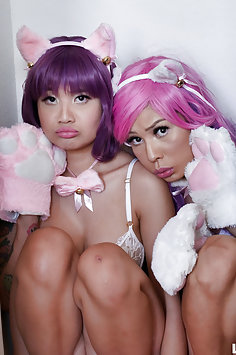 Asian cosplay girls get facials when their master gets home from work