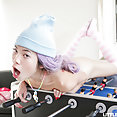 Skinny and flat chested Asian girl hard fellatio session - image