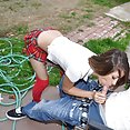 Riley sucks her shady boyfriend outside in the yard - image