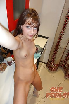 Flat chested Polish girl nude at home