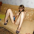 Sexy Russian nude gamer nerd girl orgasms on webcam - image