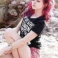 Naked Emo girl does cosplay outdoors - image