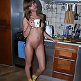 Skinny Russian nude cutie in the kitchen - image